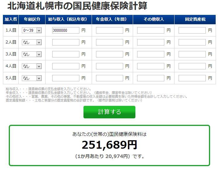 札幌は国民健康保険料が高くて驚いた。